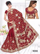 DESIGNER HEAVY WORK WEDDING BRIDAL SAREE INDIAN PARTY WEAR BOLLYWOOD SARI US6499