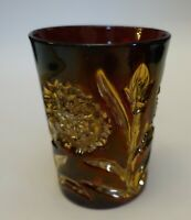 edx118 ANTIQUE RUBY STAIN AND GOLD OVER CLEAR EAPG WATER GLASS TUMBLER