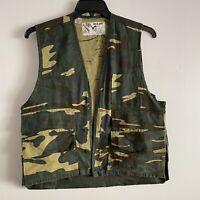 Duck Bay Mens Medium Vintage Hunting Vest Shotgun Shell Holder Cotton Duck Camo