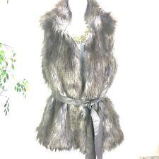 Kaktus Women Faux Blue Gray Fur Vest Belt Casual Career Size Small