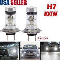 2X H7 100W Super Bright CREE LED Fog Tail Driving Car Head Light Bulb White Lamp