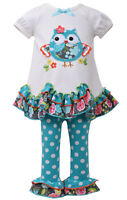 Bonnie Jean Little Girls AQUA OWL Leggings outfit 2 pc SET 12M 18M 24M 2T 3T 4T