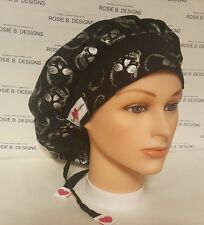 SILVER SKULLS  ON BLACK / BOUFFANT  SCRUB / MEDICAL / CAP/PONYTAIL