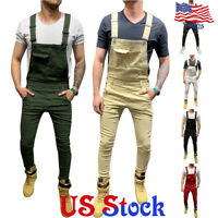 Men's Cargo Bib Pants Suspenders Colored Denim Trousers Overalls Jumpsuit Jeans