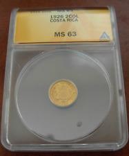 Costa Rica 1926 Gold 2 Colones ANACS MS63
