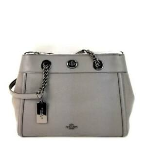 Coach Satchel Mixed Leather Suede Turnlock Edie Carryall Handbag Grey