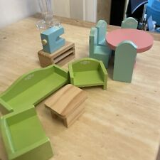 DOLLS HOUSE WOODEN FURNITURE BUNDLE - Dining Table 4 Chairs Sofa Sewing Machine