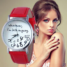 New Women Leather Quartz Watch Whatever I am Late Anyway Letter Wrist Watches