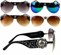 Montana West Designer Sunglasses Floral Concho Western Country Cowgirl Glasses