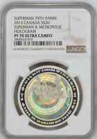 2013 CANADA 1 OZ $20 SUPERMAN METROPOLIS HOLOGRAM - NGC PF70 UC - SILVER COIN