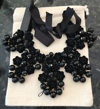 J.Crew Garden Statement Bib Necklace! Sold Out! New$138 Black With J.Crew Bag!