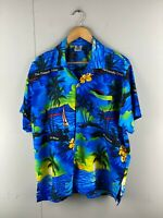 Rima Men's Vintage Short Sleeve Hawaiian Shirt - Blue - Size Large