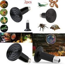 Fsy 2 Pack 100W Ceramic Heat Lamp Bulb Emitter Infrared Reptile Heat Heater Lamp