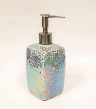 NEW GREEN PURPLE IRIDESCENT GLASS MOSAIC KITCHEN,BATHROOM SOAP+LOTION DISPENSER