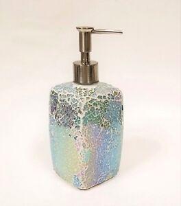 NEW GREEN PURPLE IRIDESCENT GLASS MOSAIC KITCHEN,BATHROOM SOAP+LOTION DISPENSER