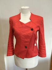 Helmut Lang Red Linen Cropped Blazer Size 2