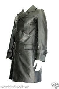 German Submariner WW2 Vintage Leather Coat / Black Real  COW Hide Leather Coat