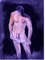 Painting NUDE jock, Taking it Down, 1/10/50 Esteban Realism Signed FREE SHIP