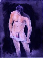 Painting NUDE jock, Taking it Down, 1/7/50 Esteban Realism Signed FREE SHIP