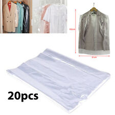 "20 x Garment Covers Polythene Clear Plastic Dry Cleaner Clothes Bags 40"" inch"