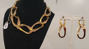 Rebecca of Italy Necklace And Earrings 24K over copper