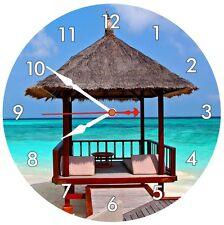 Wall Clock Bali Beach Hut Quartz Decor Kitchen Time Summer Holiday Gift