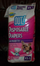 "OUT! Pet Care Disposable Dog Diapers 13"" - 18"" Waist Leak Proof Fit XS-S ~ OPEN"