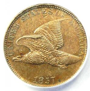 1857 Flying Eagle Cent 1C Penny Coin - Certified ANACS AU50 Details - Rare!