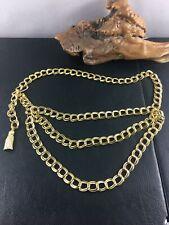 Waist 37 inch Belly Chain Belt Vintage Gold Tone Metal 3 Chain Hip