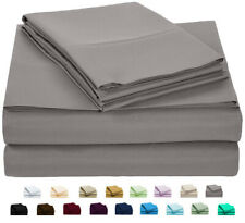 NEW Luxury Home 6-Pc Double-Brushed Bed Sheet Set - Gray - Size:Queen