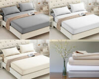 400TC FITTED SHEET EGYPTIAN COTTON 30 CM DEEP MATTRESS FIT COVER SINGLE DOUBLE