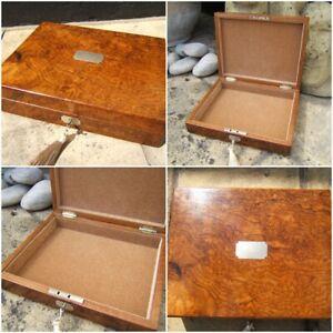19c ANTIQUE WALNUT INLAID JEWELLERY/DOCUMENT BOX - FAB INTERIOR