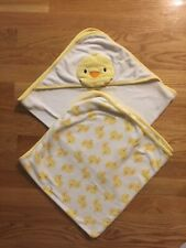 2 Carter's baby towels - hooded & plain chick duckie