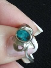 Sterling Silver 925 TOURQUOISE Abstract Estate Ring ~Sz7