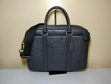 NWT Coach F72230 Perry Slim Brief in Signature Leather Midnight Navy Blue