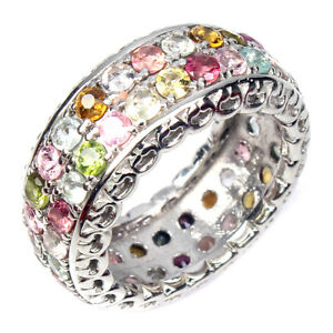 Unheated Round Tourmaline 2.5mm 14K White Gold Plate 925 Sterling Silver Ring 7