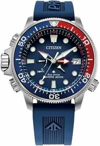 Citizen Promaster AquaLand Eco Drive Blue Dial Rubber Band Mens Watch BN2038-01L