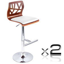 Set of 2 White PU Leather Wooden Kitchen Bar Stool Gas Lift Dining Chair