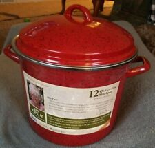 New listing New Paula Deen Signature Enamel on Steel - 12 Qt. Covered Stockpot, Red Speckle