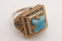 Turkish Jewelry Square Cut Turquoise Onyx Topaz 925 Sterling Silver Ring Size 9