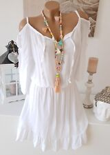 SOMMER KLEID CUT OUT HIPPIE IBIZA OFF SHOULDER STRAND Weiß 36 38 40