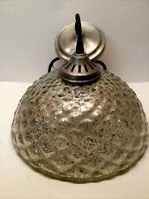 "Mercury Glass Dome Pendant Light Fixture 11 1/2"""