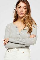 NWT Women's Free People Gray Frankie Exposed-seam Bodysuit sz L