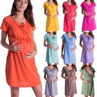 Maternity Pregnant Ladys Short Sleeve V-Neck Dress Nursing Breastfeeding Clothes
