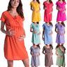 Damen Schwangere Sommer Kurzarm Umstandskleid Stillkleider Nachthemd Umstands