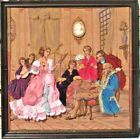 Framed  Stumpwork Ribbon Embroidery Victorian Family Belgium Tapestry Cameo Pin
