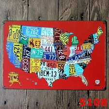 Metal Tin Sign american map  Decor Bar Pub Home Vintage Retro Poster Cafe ART