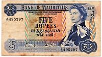 Mauritius 5 Rupees Banknote 1967 As Pictured Queen Elizabeth II
