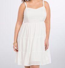 Torrid White Lace Trim Smocked Waist Tiered Dress Plus Size:  4X 4 aka 26 #96800