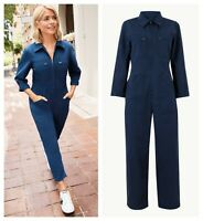ex M&S Navy Zip Pockets Pure Cotton Boiler Utility Jumpsuit